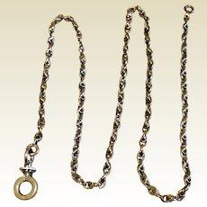Antique 10K Gold Older Albertina Watch Chain Unusual Swivel