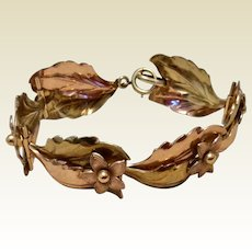 Vintage Krementz Rose Gold & Yellow Gold Tone Floral Leaf Bracelet