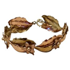 Vintage Krementz Rose Gold & Yellow Gold Tone Floral Leaf Bracelet