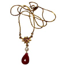 Upcycled Gold Filled Pratt & Whitney Fresh Water Pearl & Genuine Ruby Briolette Pendant Necklace
