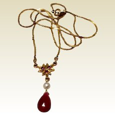 Vintage Upcycled Gold Filled Pratt & Whitney Fresh Water Pearl & Genuine Ruby Briolette Pendant Necklace