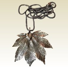 Vintage Sterling Silver Two Sided Canadian Maple Leaf Pendant Necklace
