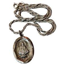 Vintage Sterling Silver Infant Of Prague Medal Pendant & Chain