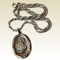 Vintage Sterling Silver Infant Of Prague Medal Pendant & Chain
