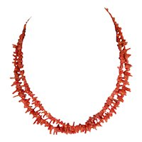Natural Salmon Branch Coral Double Strand  Necklace
