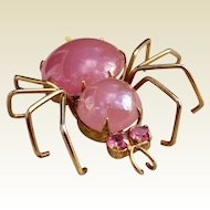 1940's Pink Pearlized Lucite Spider Brooch