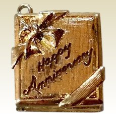 Vintage Gold Tone Metal Mechanical Happy Anniversary Charm