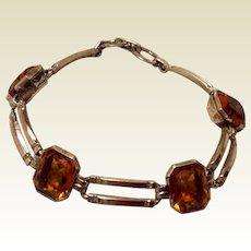 Art Deco 10 K Gold Filled Citrine Glass Flexible Link Bracelet