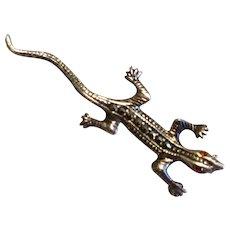 Vintage Sterling Silver 925 Marcasite Gecko Brooch