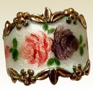 Vintage Vargas Gilt Silver Enamel Cigar Band Ring