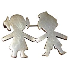 Vintage Mexico Sterling Silver Brooch