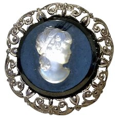 Vintage Western Germany Silver Tone Filigree Metal Cameo Brooch