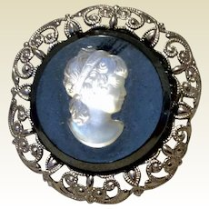Vintage West Germany Silver Tone Metal Cameo Brooch