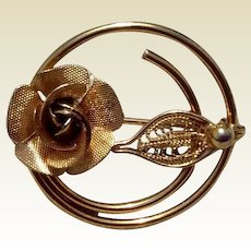 Vintage Sarah Coventry Gold Tone Metal Rose Brooch
