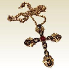 Vintage West Germany Gold Tone Metal Black Enamel Filigree Cross Pendant Brooch Necklace