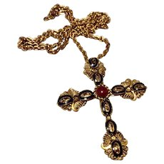 Vintage West Germany Gold Tone Metal Black Enamel Filigree Cross Pendant Brooch Necklace