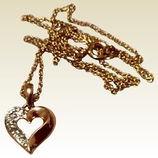 Vintage Silver Gilt Sparkling Clear Paste Rhinestone Heart Pendant Necklace