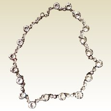 Antique Edwardian Sterling Silver Riviere Sparkling Clear Paste Necklace
