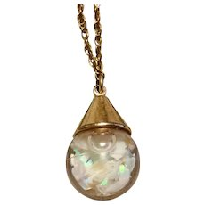 Vintage 12K Gold Filled Captive Floating Opal Pendant Necklace