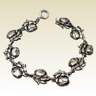 Vintage Sterling Silver Rose Rosary Bracelet