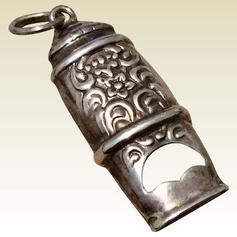 Antique Sterling Silver Repousse Whistle