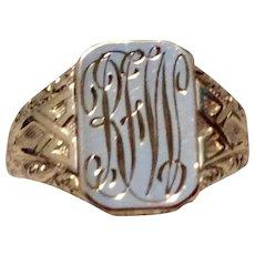Vintage 14K Gold Filled Signet Ring With 14K Gold Top Size 10