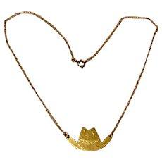 Vintage Carl Art 14K Gold Filled Cowboy Hat Necklace