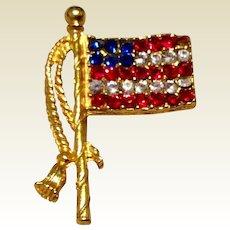 Vintage Gold Tone Metal American Flag Rhinestone Brooch