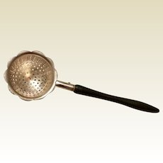 Vintage Early 1900's Silver Plate Wooden Handle Tea Strainer