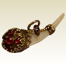 Vintage Gold Filled Red Glass Mother Of Pearl Watch Fob Charm Pendant