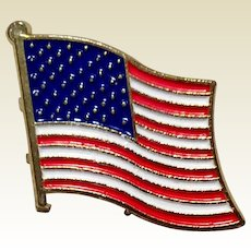 Vintage Gold Tone Metal American Flag Lapel Pin