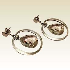 Vintage Sterling Silver Clear Faceted Crystal Dangle Earrings