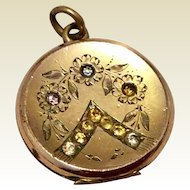 Antique Gold Filled Rhinestone Paste Engraved Photo Locket