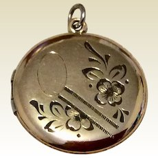 Vintage Gold Filled Engraved Double Photo Locket