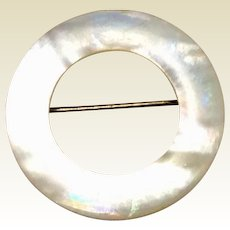 Vintage Mother Of Pearl Circle Brooch