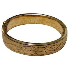 12K Gold Filled Hinged Bangle Bracelet Vintage