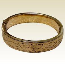 Vintage 12K Gold Filled Hinged Bangle Bracelet