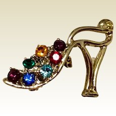 Vintage Gold Tone Metal Rhinestone High Heel Brooch