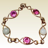 Vintage 14K Gold Filled Pink Rhinestone & Faux Moonstone Flexible Link Bracelet