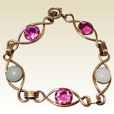 Vintage 14K Gold Pink Rhinestone & Faux Moonstone Flexible Link Bracelet