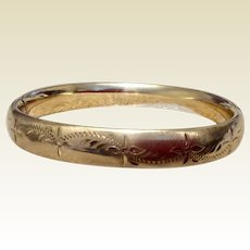 Vintage 12K  Gold Filled Hinged Bangle Bracelet