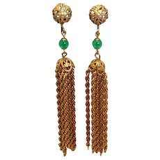 "Vintage 1940's Gold Filled Screw Back Dangle Tassel Earrings 3 1/8"""