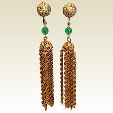 Vintage 1940's Gold Filled Screw Back Dangle Tassel Earrings 3 1/8""