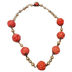 Vintage Carved Faux Coral & Faux Pearl Necklace