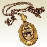 Antique Victorian Etruscan Revival Gold Filled Seed Pearl Locket Pendant & Chain