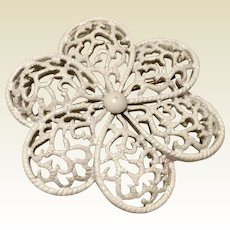 Vintage Trifari White Flower Brooch