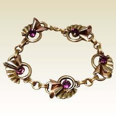 Vintage 10K Gold Filled Amethyst Glass Flexible Link Bracelet