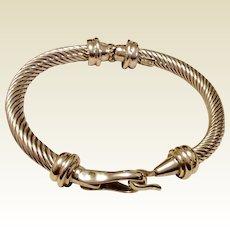 Vintage Sterling Silver Mexican Hinged Bangle Bracelet