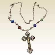 Italian Grand Tour Micro Mosaic Crucifix & Venini Glass Necklace
