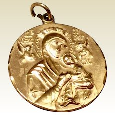 Vintage 12K Gold Filled Catholic Medal